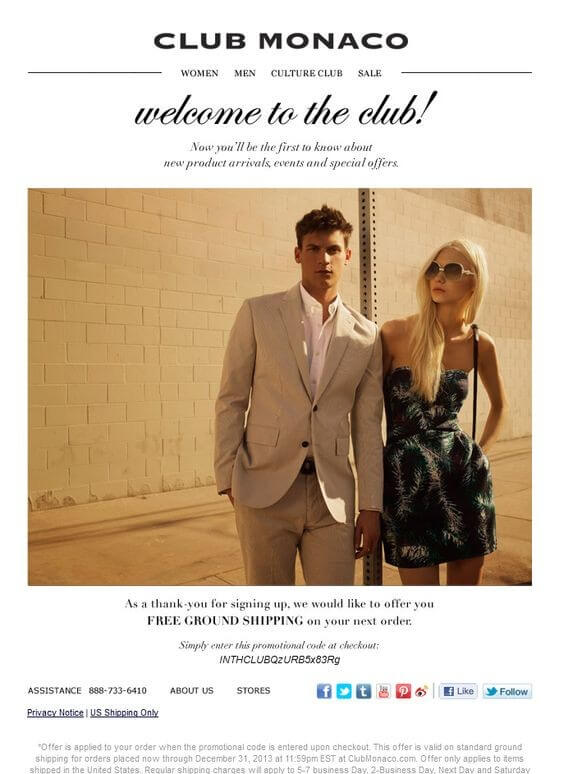fashion email inspirations- Club Monaco
