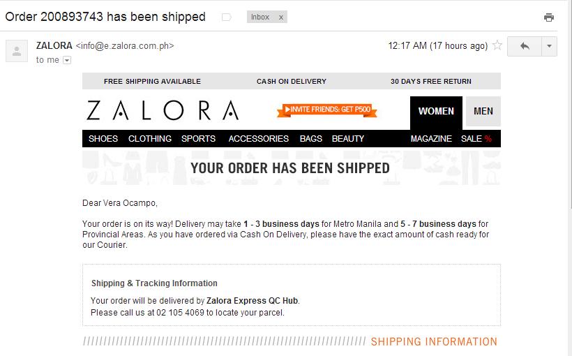fashion emails- Zalora Order