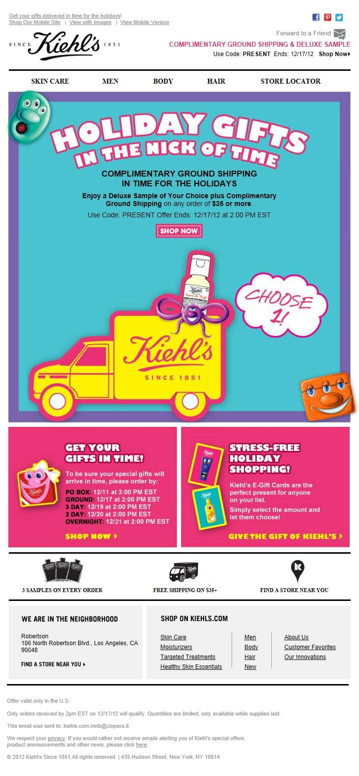 fashion email examples- Kiehl's