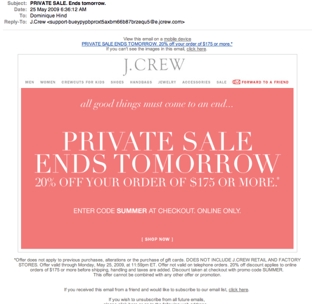 fashion emails- J.Crew