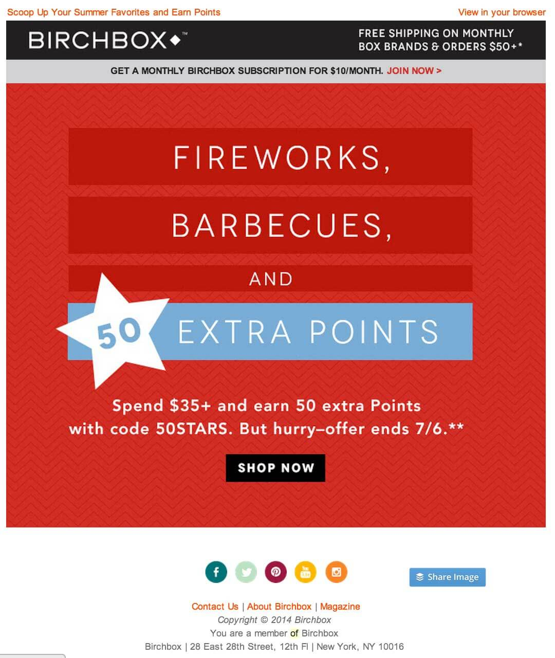Birchbox independence day email