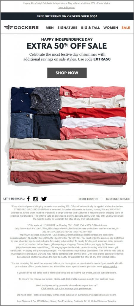 Dockers_4th of july email templates