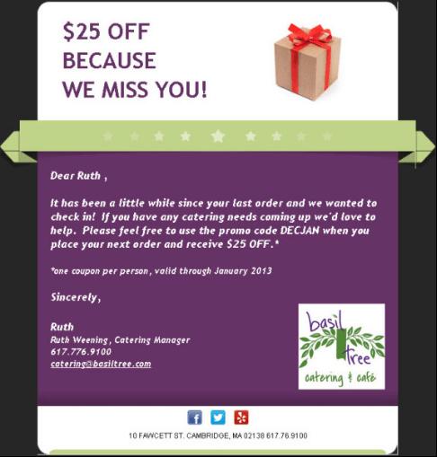 Basil Tree Reengagement email