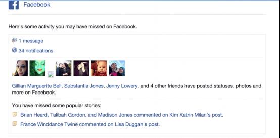 Facebook reengagement email