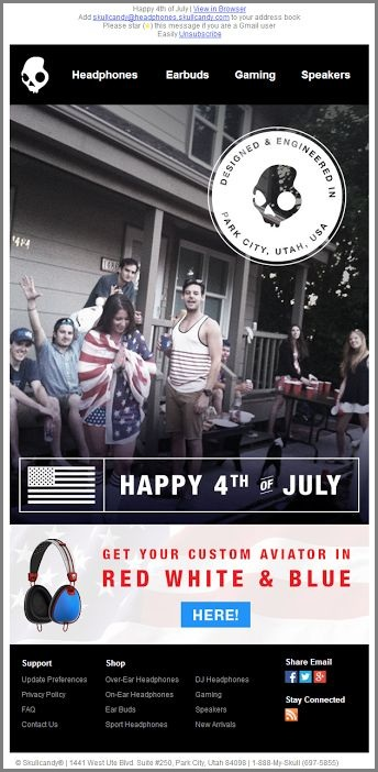 Skullcandy Independence Day Email