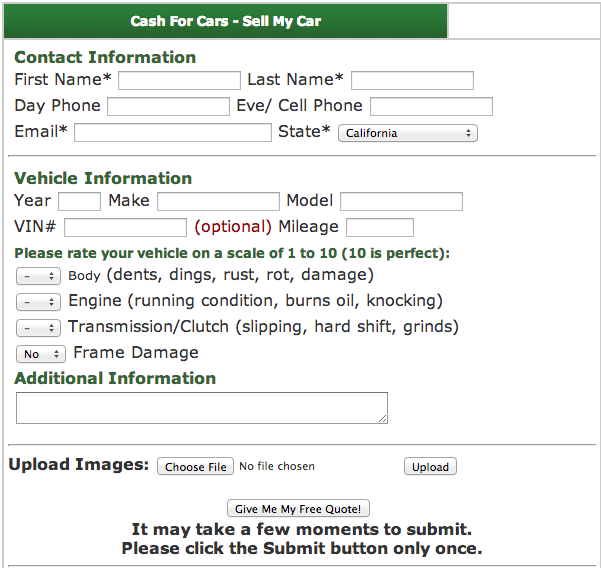 Cash4usedcars.com Old Form