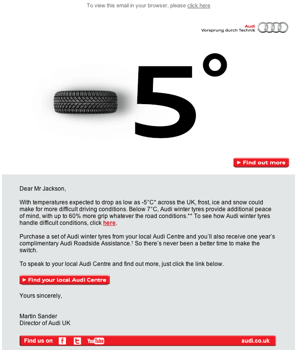 Automotive Email Marketing- Audi