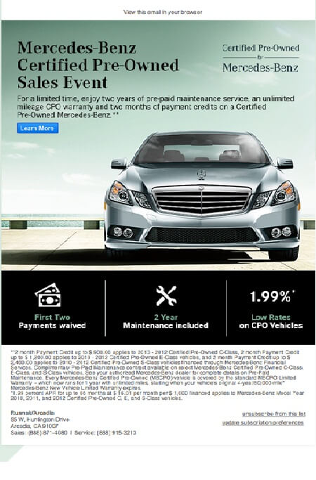 Email design marketing- Mercedes