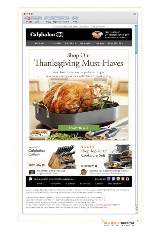 Holiday Email Templates (Thanksgiving) - Calphalon