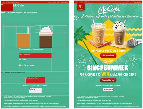 Html email pixel art- McCafe