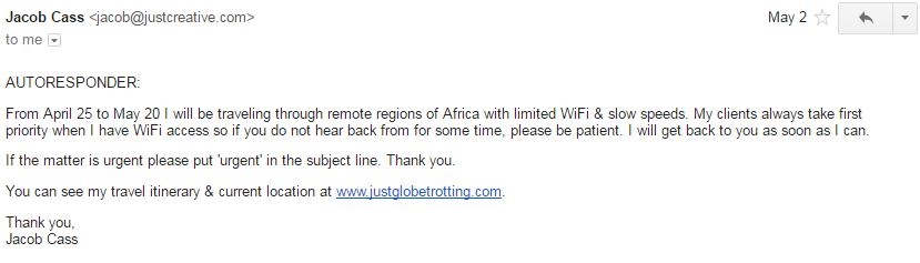 Jacob Out of Office Email
