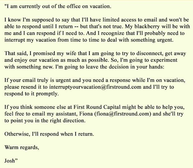 Josh Kopelman Out of Office Email