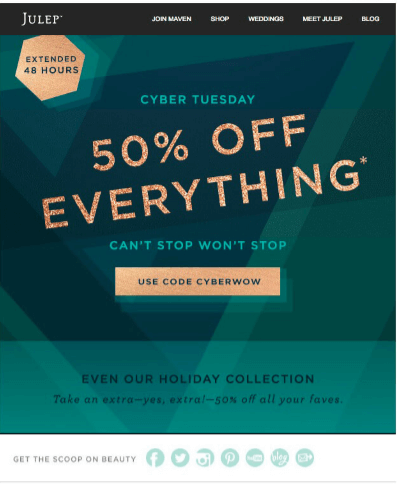 Holiday Email Templates (Cyber Monday) - Julep