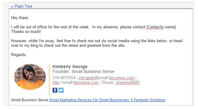 Kimberly George Out of Office Email