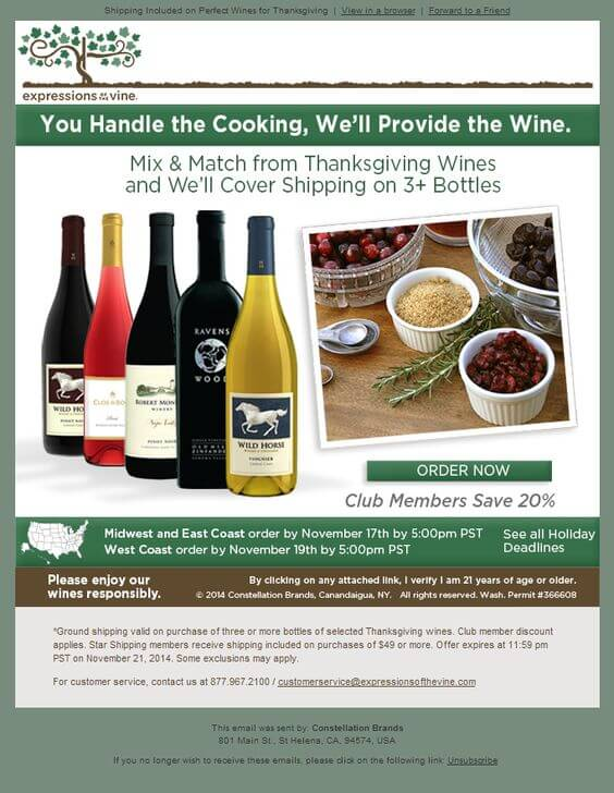 Holiday Email Templates (Thanksgiving) - expressions of the vine