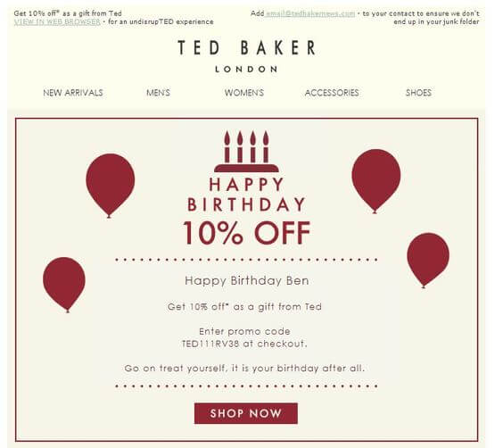 Email Personalization Examples- Ted Baker Birthday Email