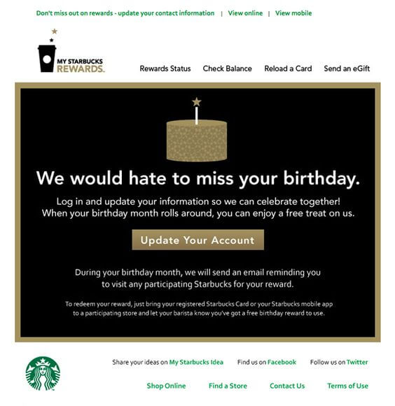 Email Personalization Examples- Starbucks Birthday Email