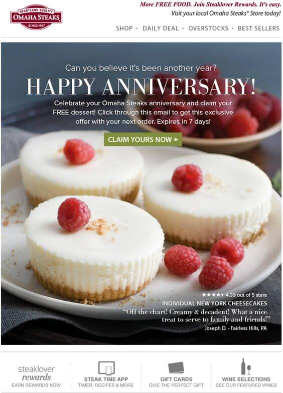 Email Personalization Examples- Omaha Steaks Anniversary Email