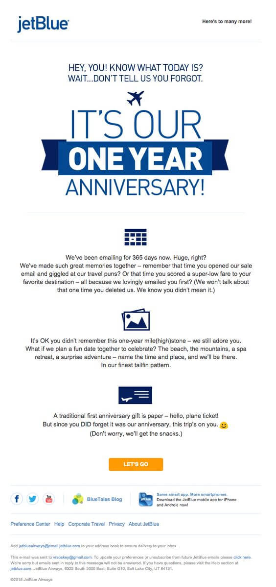 Email Personalization Examples- JetBlue Anniversary Email
