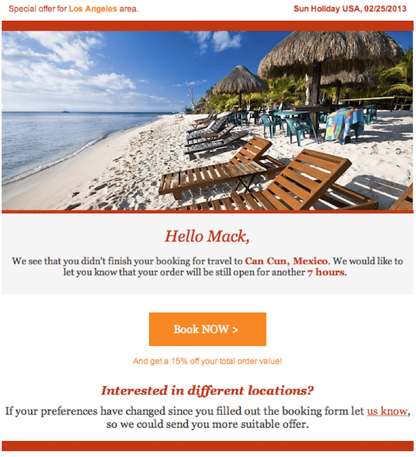 personalized email Sun Holiday