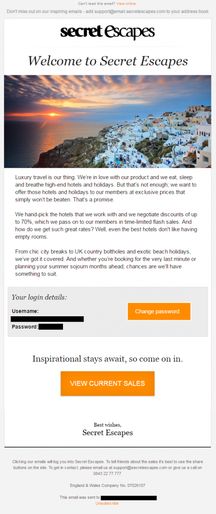 welcome email secretescapes