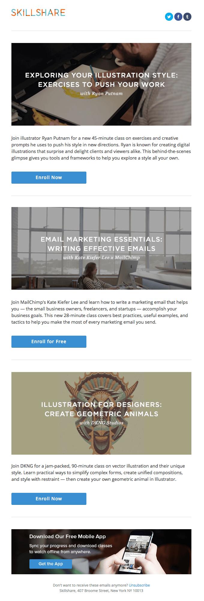 Academic email inspiration-Skillshare