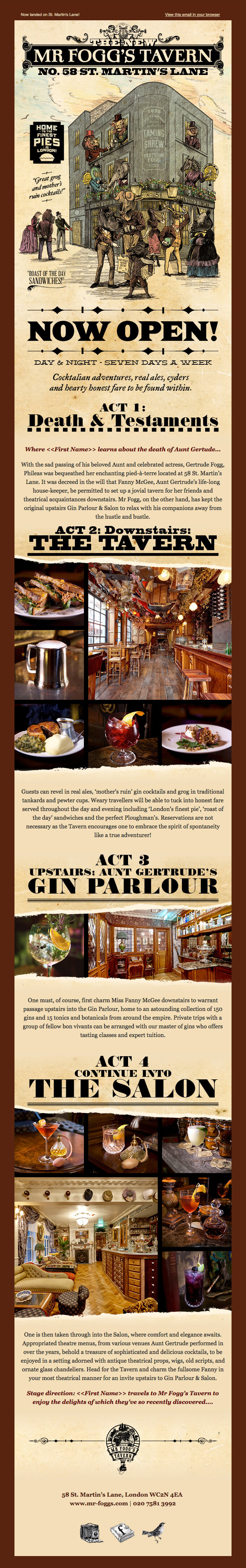 Business email samples-Mr Fogg Tavern