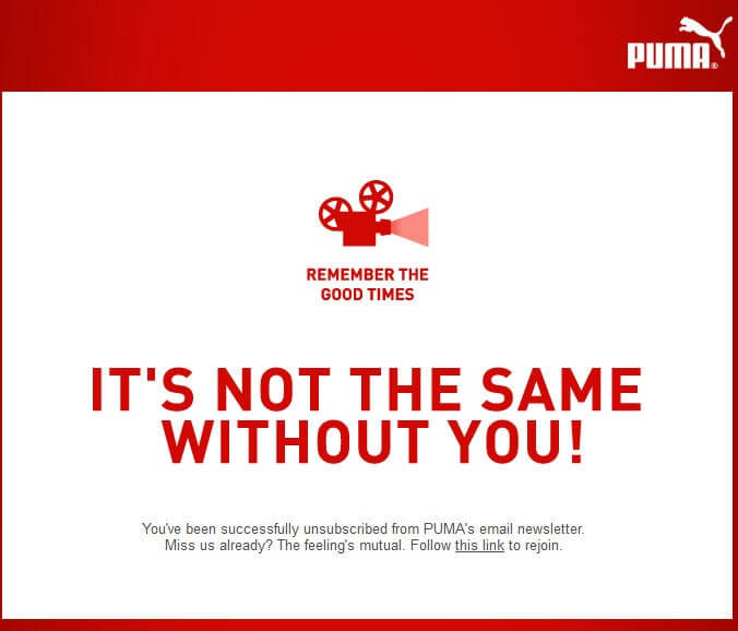 Puma-Email Unsubscribe Email