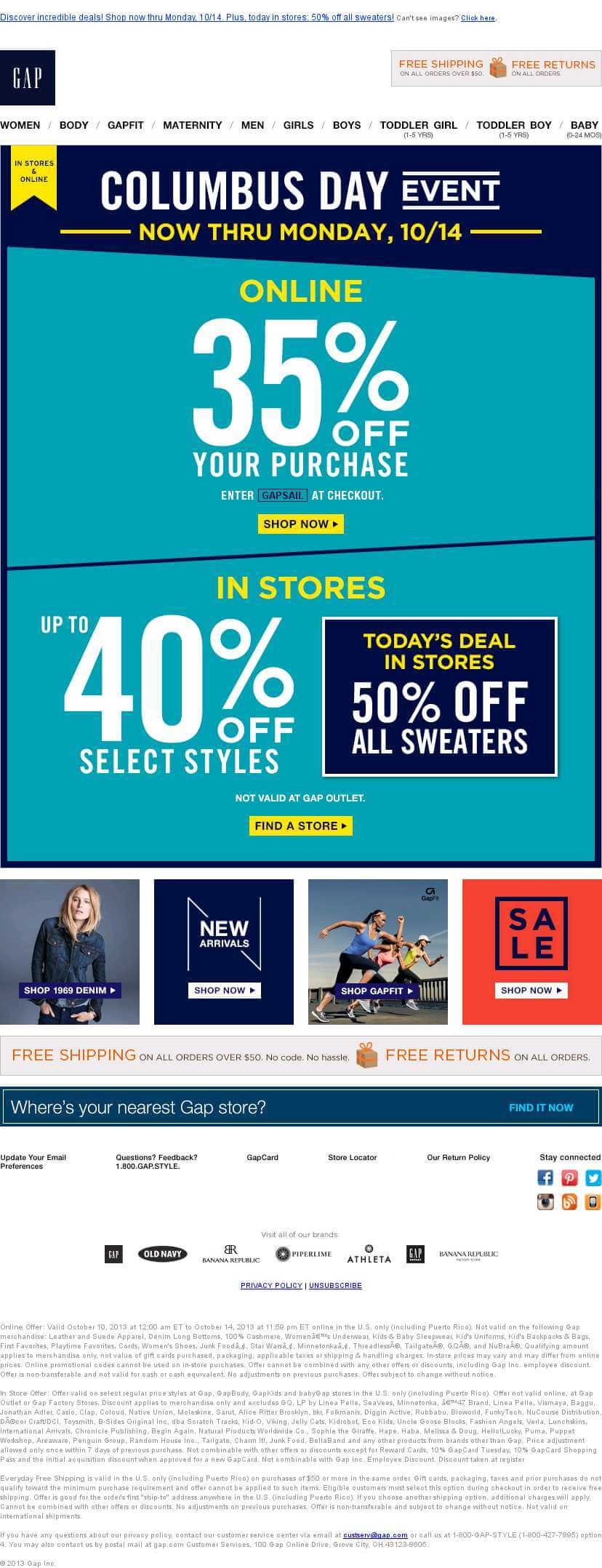 Columbus Day Email Templates- Gap