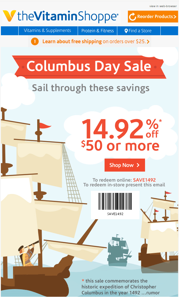 Columbus Day Email Templates- TheVitaminShoppe