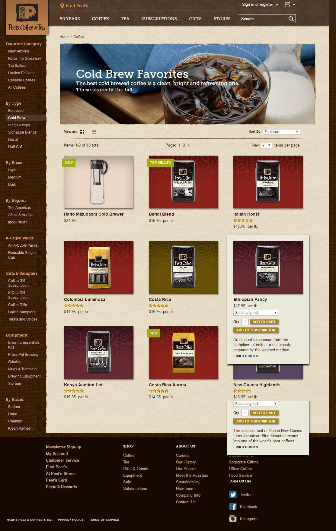 Ecommerce email template and landing pages-Peet's Coffee_Landing Page