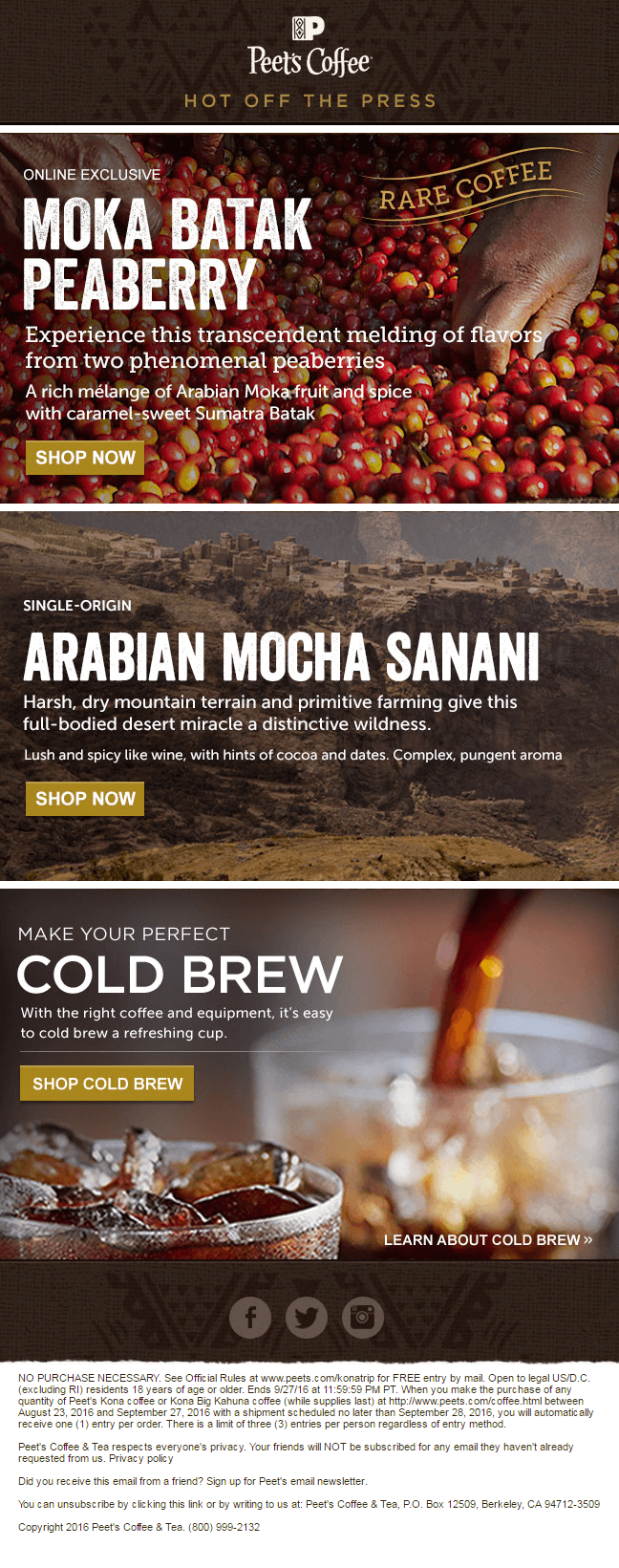 Ecommerce email template and landing pages-Peet's coffee_Email