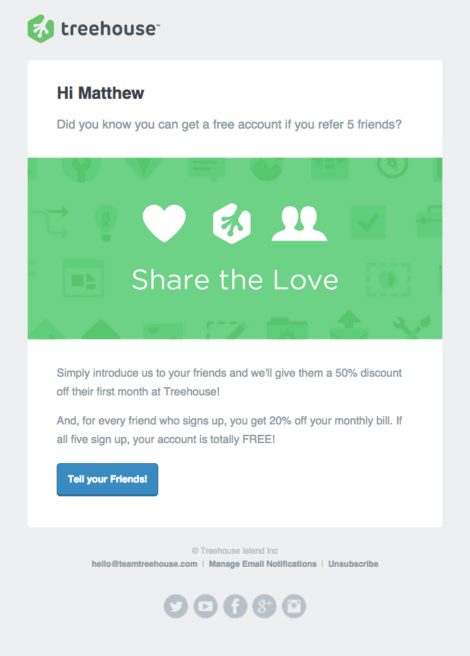 Email marketing campaign- Treehouse