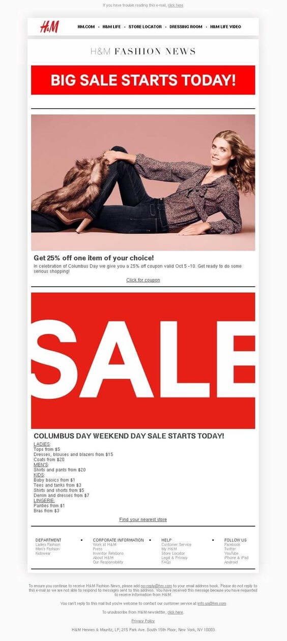 Columbus Day Email Templates- H&M