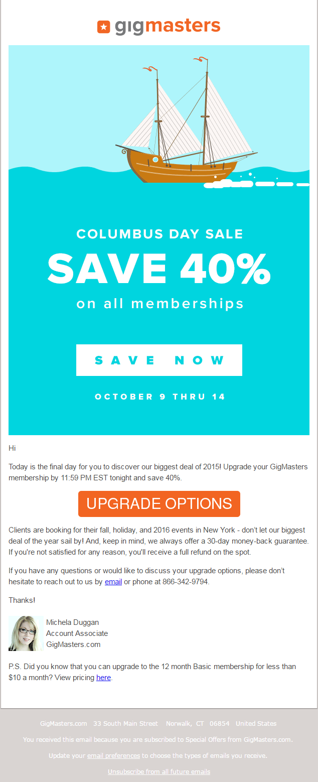 Columbus Day Email Templates To Boost Your Sales This Holiday Season - Special offer email template