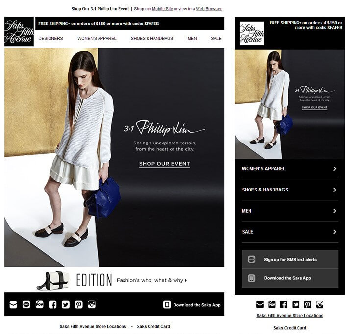 Email template design - Accordion- Saks Fifth Avenue