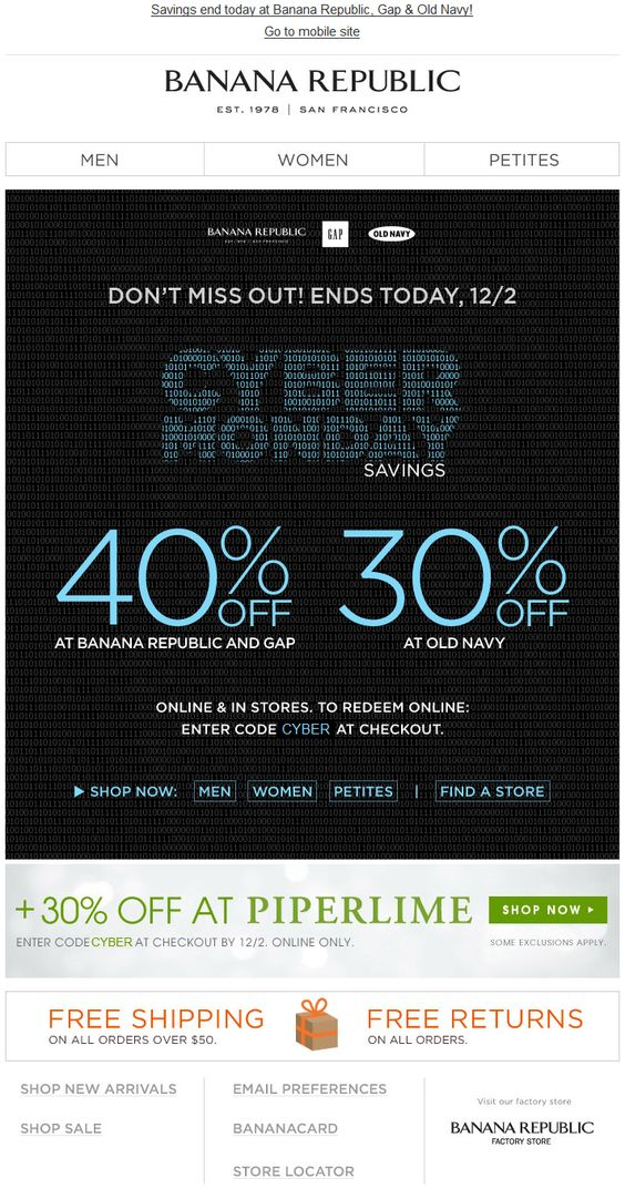 Banana republic cyber monday marketing