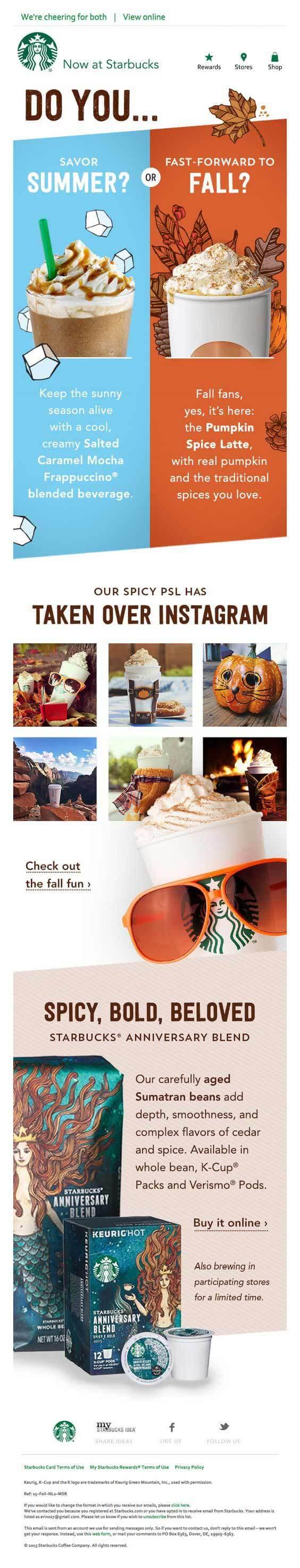Seasonal Email Templates_Starbucks_summer-fall