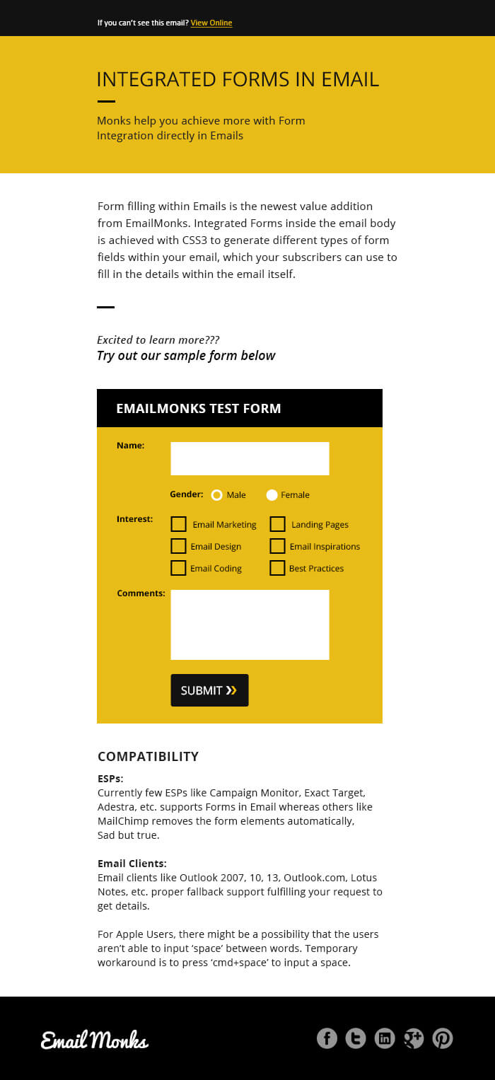 Supporting Form in Email