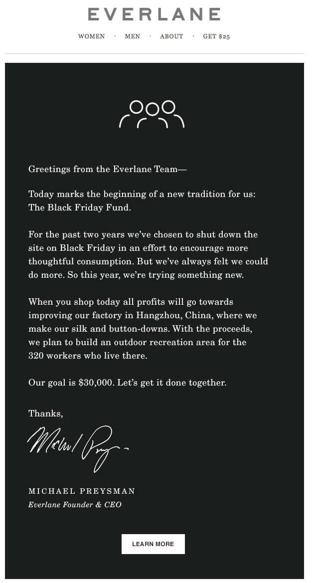 everlane black friday email campaign