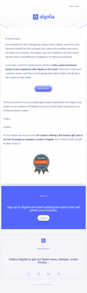 Algolia email template