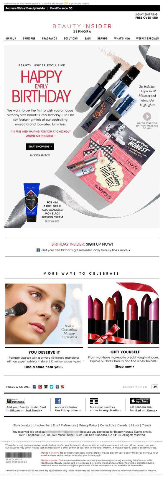 personalized email campaigns_Beauty Insiders