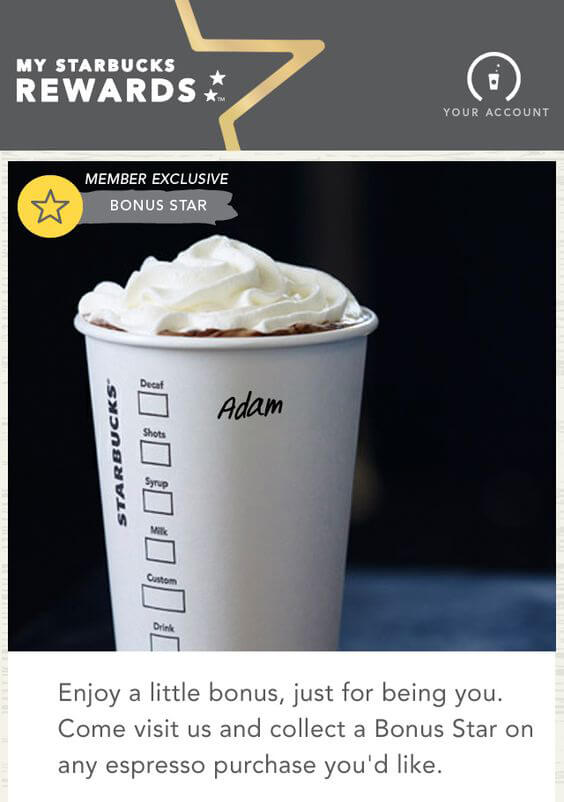personalized email campaigns-Starbucks