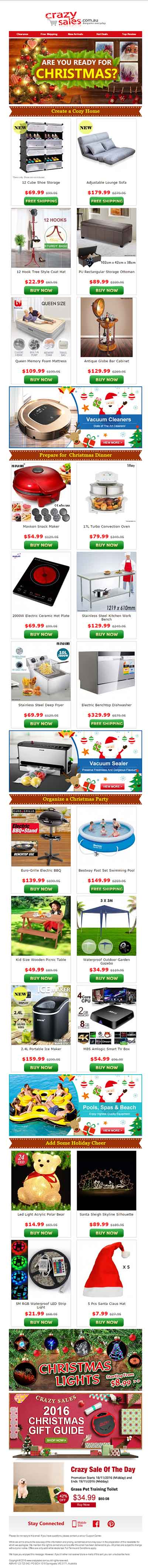 Christmas Email Template Crazy Sales