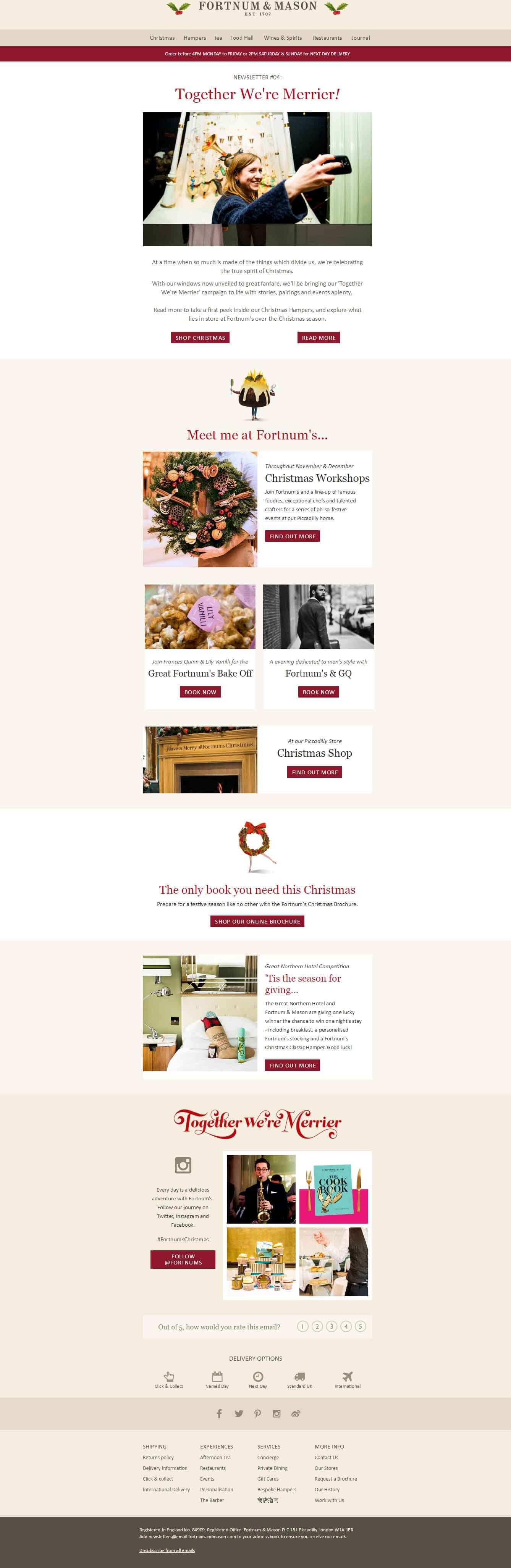 Fortnum & Mason Christmas email example