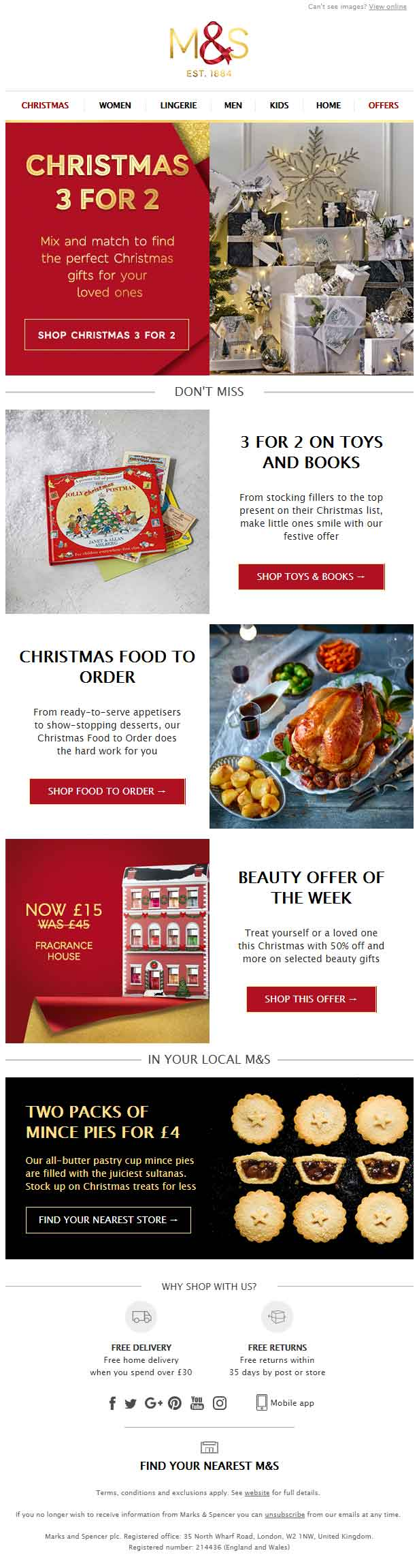 Christmas Email Template M&S