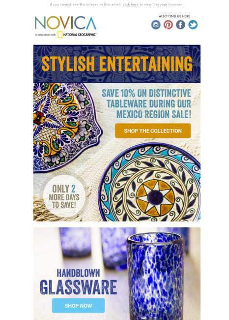 Email marketing examples Novica