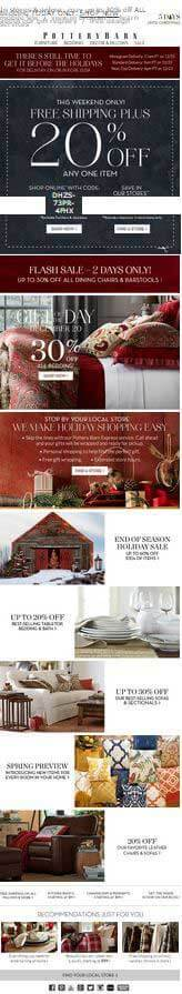 Email marketing examples Potterbarn