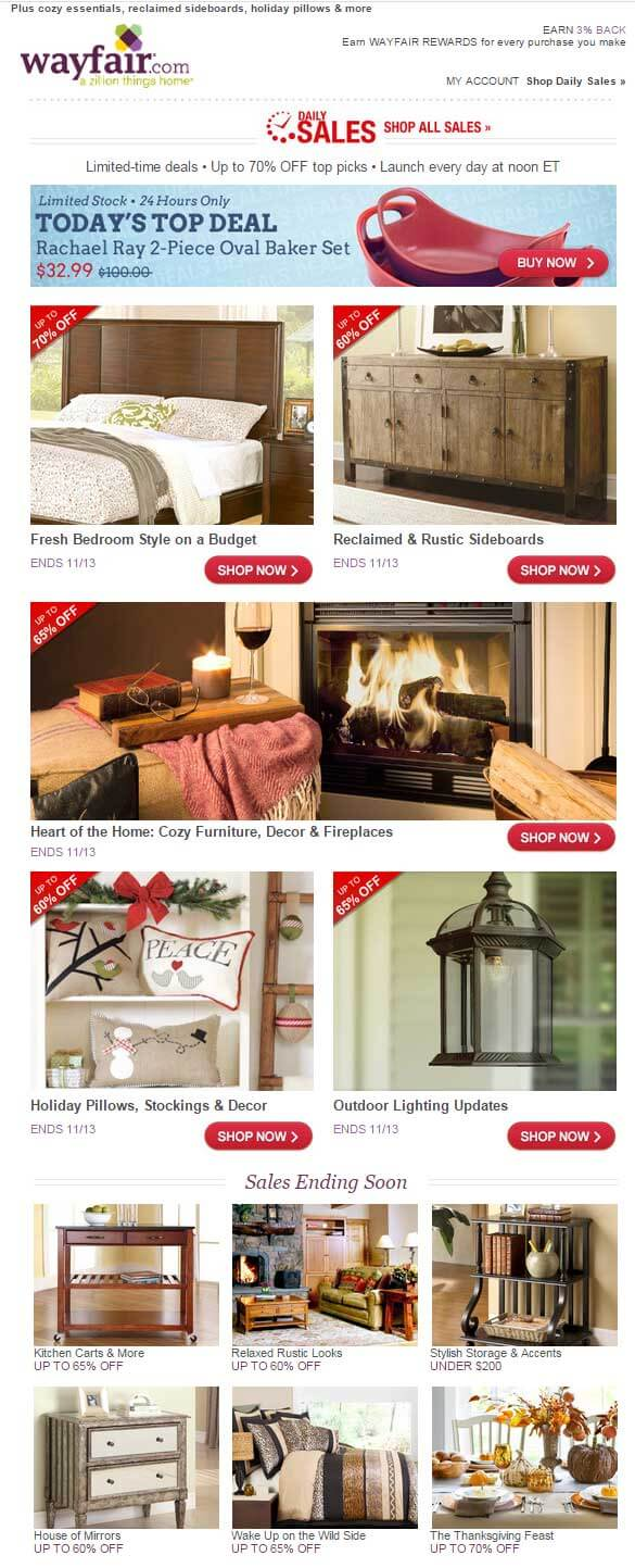 Email marketing examples wayfair