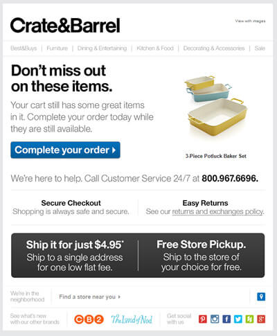 Cart Abandonment Email Exmple Crate and Barrel